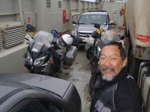 We rode up to the ferry, down the ramp and up into the bowels of the vessel.  This ferry was half full!