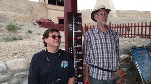 At the fortress, entry fee was determined by height.  Chris P and Marty K measure up.  Chris still had to pay the adult fee.