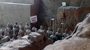 Sign indicates site of original well that uncovered the terracotta warriors.  #6 sign is the oldest brick wall.
