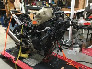 "New rear and front shocks, triple tree, fat handlebars, Scott steering damper, 17"" & spoked rims."